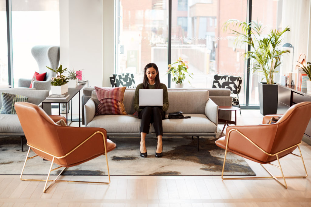 woman working with laptop on couch