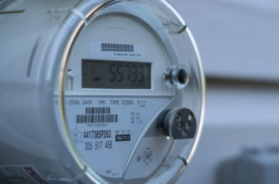Electricity meter outside of a home being used for utility submeter reading.
